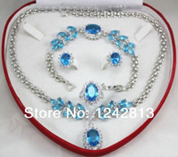 aquamarine silver bracelet - Grain Shaped Silver plated Aquamarine Crystal Zircon stone Wedding Bridal Rings Earrings Bracelets Necklaces Sets Box