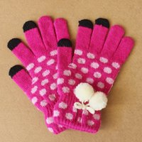 angora gloves - Knitted Yarn Angora Dot with Little Ball Winter Women and Men s gloves Jacquard thickening Touch Screen gloves