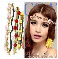 Wholesale Boutique hair Flowers Wreaths For Hair Artificial Flowers Garland Headband Party hair band Wreath head A5863