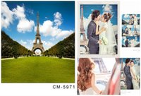 Wholesale Custom X7FT Paris Eiffel Tower Photography Background Backdrop For Wedding Photo Studio Muslin Computer Painted Backgrounds
