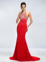 Wholesale Red Sexy Cheap Prom Dresses Halter Chiffon Gathered Beads Backless Sweep Train mermaid dresses for prom Evening Dresses Beautiful