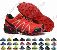 Wholesale 2015 Salomons Speedcross Outlet Mens Hiking Running Shoes Barefoot Solomons Sports Shoes Zapatillas Newest Style Pure Black Color
