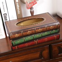 Wholesale Vintage Antique Style Wood Stack Book Tissue Paper Box Holder