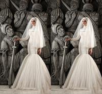 Wholesale Conservative Skirts - Muslim Wedding Dresses 2016 High Neck Beaded Cheap Court Train Beading Conservative Long Sleeve Vestidos Bridal Gowns Wedding Dress Discount