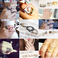 Wholesale 16 Styles Set Rings Fashion Vintage Punk Style Metal Gold Silver Plated Leaf Above Knuckle Hollow Out Leave Band Midi FingerJoint Set Ring