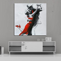 abstract dance paintings - Handpainted Abstract Wall Pictures Abstract Dancing Lovers Art Oil Painting On Canvas For Home Decor Hang Group Of Paintings