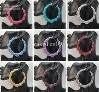 Wholesale 10pairs X Basketball Wives Earring Big Hoop Circle Rhinestone Crystal Dangle Stud Bamboo