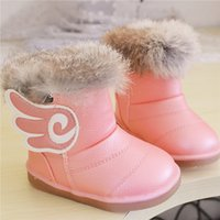 red wing boots - 2015 new winter baby child snow boots Tendon at the end real rabbit wings cotton girls cute thick velvet boots for baby girl