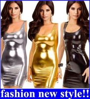 Wholesale Women s Gothic Sleeveless Dress Metallic Wetlook Clubwear Stripper Gold Black Silver Sexy Mini Club Dress new arrive