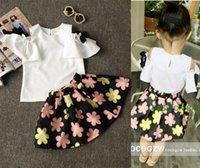 good shirts - 2 Set Summer Children Girl Skirt Suit Children Girl Top Short Skirt Kids Flower Print T shirt Good Quality Outfits Sets B