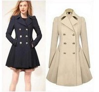 Wholesale 4046 Autumn Spring Fashion Trench Coat For Women European and American Style Medium long Double Breasted Trench Coat Women Trench Coats