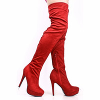 Wholesale Red Thigh High Heel Boots For Women Shoes Lady Suede Boot High Heel Handmade Sexy Over The Knee Shoes Leather Boots Women New Arrival