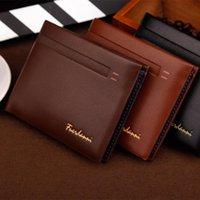 Wholesale High Quality Fashion Brand Men Wallet Genuine Leather Solid Color Short Paragraph Men Purse Wallet Cowhide Leather Money Clip