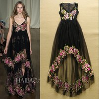 Wholesale Hot Sale Fashion Runway Prom Dresses Women s Sleeveless Asymmetrical Flowers Embroidery Gauze Dovetail Long Party Dress Evening Gown