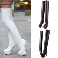 Wholesale 2014 Fall New Hot Boots Cheap Women s Sexy Stiletto cm High Heels Platform Pump Shoes Thigh Over The Knee High Boots Black White Boots