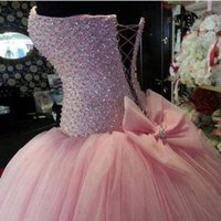 Wholesale Best Selling Elegant Long Quinceanera Dresses Beading Ball Gowns Sweetheart Pink vestido de debutante para anos Sweet Dresses