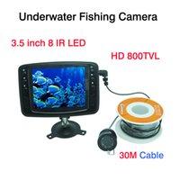 30M cámara submarina Pesca 8 IR LED CCTV cámara con monitor en color de 3,5 pulgadas Buscador de los pescados de la visión nocturna