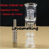 Wholesale Nectar Collector Mini Banger Oil Rig Water Smoking Pipe Ash Catcher Titanium Vaporizer mm Honey Dab Straw Tip With Titanium Tip