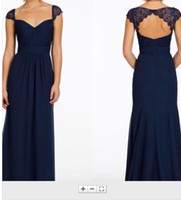 Wholesale 2016 Navy Blue Lace Bridesmaid Dresses With Short Sleeve Backless Chiffon Long Mermaid Beach Evening Gown Cheap Formal Prom Dress Party Gown
