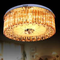 Wholesale Modern minimalist living room European style big round LED ceiling lamps cognac color fashion outlet k9 crystal lighting