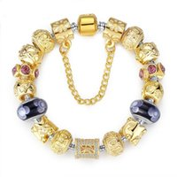 10k gold bracelet - New Arrival European Style K Gold Plated Charm Woman Fashion Bracelet With Crystal Glod Bead DIY Bracelets Jewelry PA1005