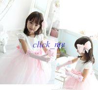 Wholesale Cute Children Girls Accessories Girls Finger Gloves Childs Pearl Flower Bowknot Mittens Kids Wedding Accessories Beige