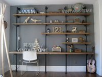 Wholesale Retro loft wood clapboard to do the old pipes shelves computer desk combination wall shelf bookcase shelf