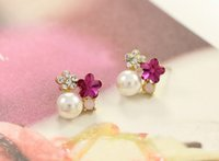 cheap stud earring - 2015 New Arrival Charming Crystal Rhinestone Round Pearl Flower Ear Stud Earrings for girls wedding dress cheap