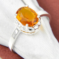 Cheap Bulk 3 PCS LOT Daily Jewelry Holiday Gift Newest Oval Brazil Citrine Gemstone 925 Sterling Silver Plated Ring