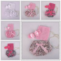 newborn vests - girls summer clothing sets newborn bow headbands crochet vests tops ruffle bloomers shorts for babies children Christmas dot leopard set