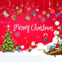 Wholesale Christmas Wall Stick Santa Claus Christmas present Removable window Sticker For Show Window Home room Decoration