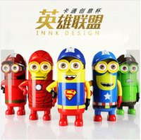 Wholesale Cartoon despicable me Minions League of Legends vacuum stainless steel cup creative design gift water bottle tumbler with hat ml