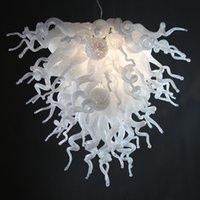 art glass flowers - Modern Commercial Pendant Light Art Deco Ceiling Lamp White Hand Blown Glass Flower Chandelier LED Living Room Lighting