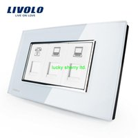 Wholesale Cheapest US AU Standard Livolo Luxury TEL COM COM Socket With White Pearl Crystal Glass VL C391TCC
