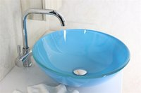Wholesale Sky blue transparent round tempered Vessel Sink With Chrome faucet Set N