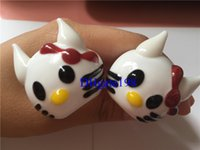 Wholesale Small girls Cute Cat Hand pipes hello Kitty Smoking Glass Pipes Dry herb tobacco Pipe for smoking