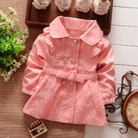 baby trench coats - NEW Spring Autumn Girls Double Breasted Cardigan Infant baby kids Lace Coat Children Outwear Coats Belt Trench S1309