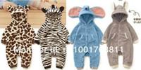 Gros-nouveaux-nés de 2015 barboteuses bébé boygirl, belle conception de animaux: Girafe zèbre éléphant lapin barboteuse de bébé Livraison gratuite
