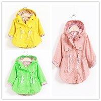 Cheap wholesale New 2015 Spring Autumn fashion hot sale girls jacket coat hooded collar polka dot print jacket