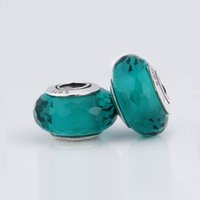 Cheap Fits Pandora Bracelets Serozha 100% 925 Sterling Silver Teal Green Fascinating Faceted Murano glass beads For Women Bracelets DIY Jewelry