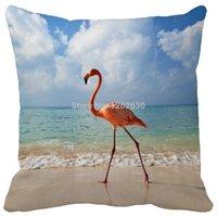 Cheap Beautiful Tropical Flamingo bird Beach Pattern Print Custom Home Decorative Throw Pillow decorate pillow sofa chair cushion