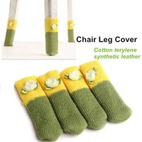 Wholesale 4 set Table Chair Leg cover Cotton terylene synthetic leather protector for furniture foot Novelty household