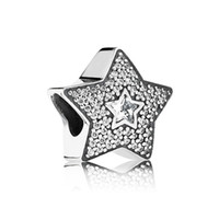 silver charm - Silver Wishing Star pave Charm solid silver charms loose beads silver beads european charms LW406