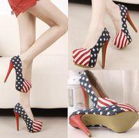 american platform - women pumps high heels fashion american flag pumps platform women s ultra high heels shoes thin heel pumps for women
