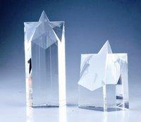crystal glass award - 3D laser star glass award customstar logo crystal trophy