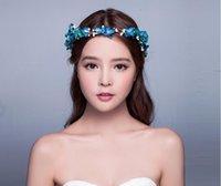 best copper stocks - Best Sale In Stock Wedding Party Bride Bridal Accessories Headpieces With Blue Flower Wedding Crown Bride Hair Accessories SH