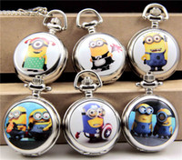 Wholesale 2015 Despicable Me pocket watch Cartoon Big Eyes Yellow minion despicable me necklace pocket watches