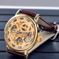 Wholesale Gold Skeleton Mechanical Watch Hot Sale High end MCE wristwatches Stainless Steel Mens Watch Best Gift DHL