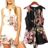 Wholesale 2015 Sexy Jumpsuits For Women Chiffon Floral Flowers Printed Black White Sleeveless Jumpsuits Rompers Shorts Large flowers resort style