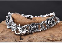 wholesale biker jewelry - New Jewelry Vintage Stainless Steel Gothic Skull Charm Biker Mens Bracelet Color Black Silver